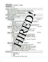 "Resume Stamped with ""HIRED!"""